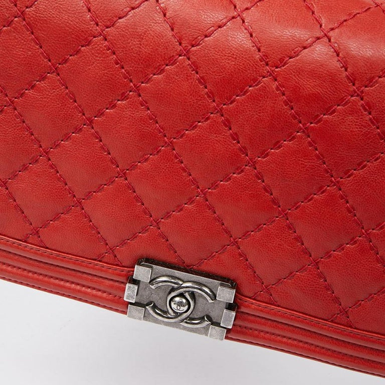 CHANEL Red Leather Large Boy Bag  For Sale 9