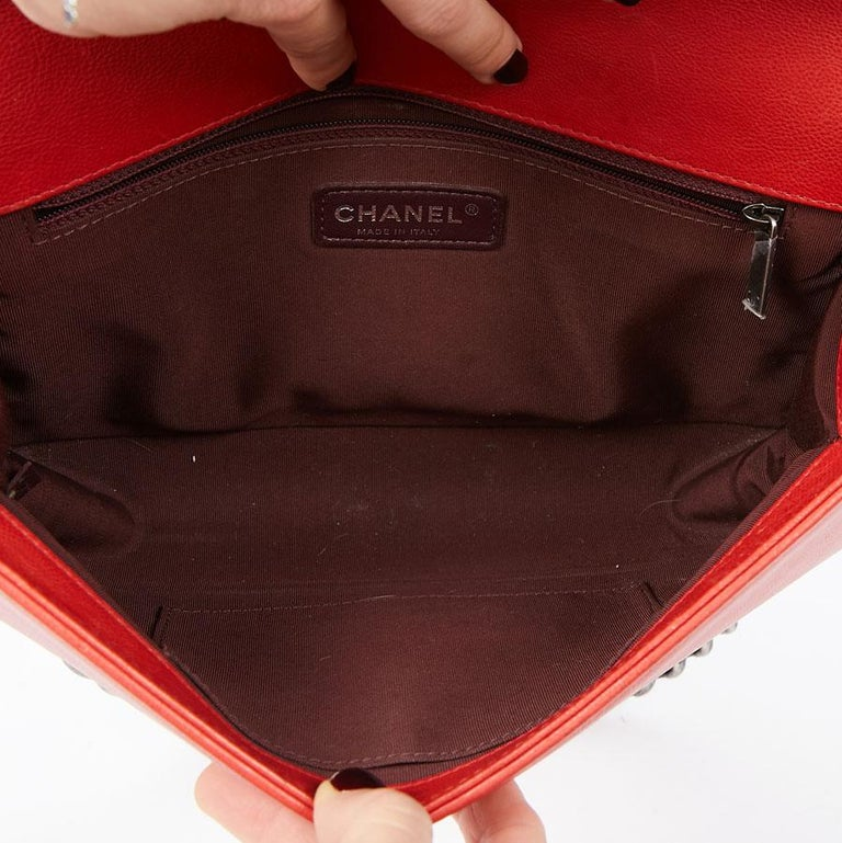 CHANEL Red Leather Large Boy Bag  For Sale 10