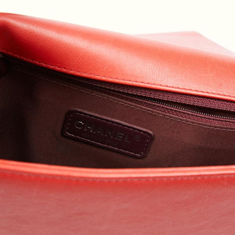 CHANEL Red Leather Large Boy Bag  For Sale 11