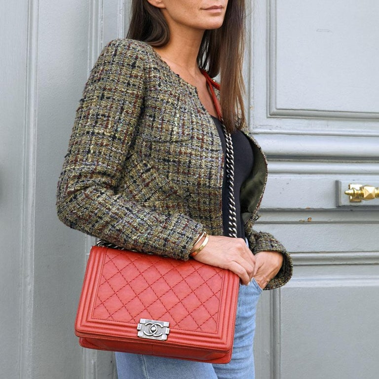 CHANEL Red Leather Large Boy Bag  For Sale 16
