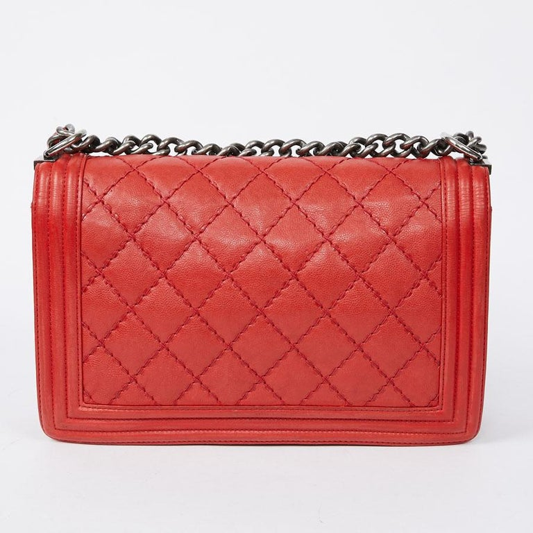 CHANEL Red Leather Large Boy Bag  For Sale 1