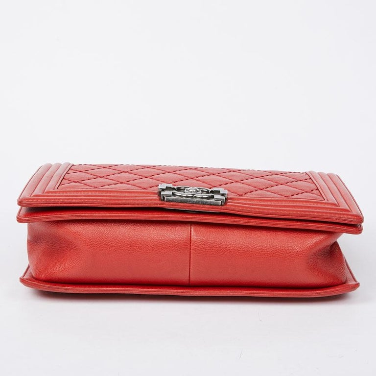 CHANEL Red Leather Large Boy Bag  For Sale 2