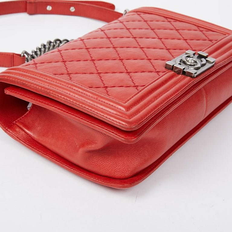 CHANEL Red Leather Large Boy Bag  For Sale 3