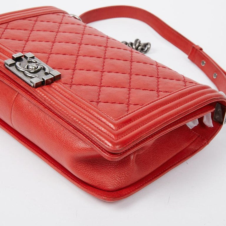 CHANEL Red Leather Large Boy Bag  For Sale 4