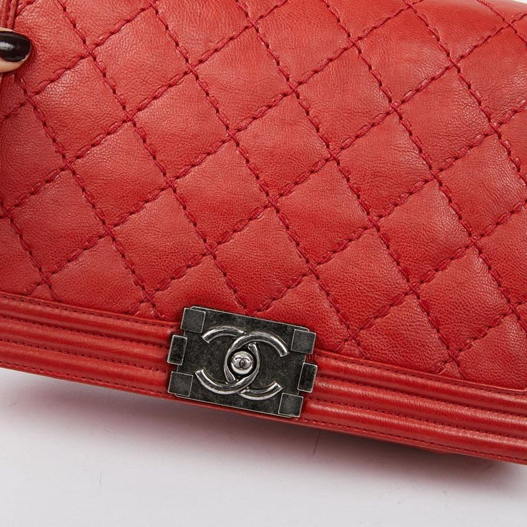 CHANEL Red Leather Large Boy Bag  For Sale 5