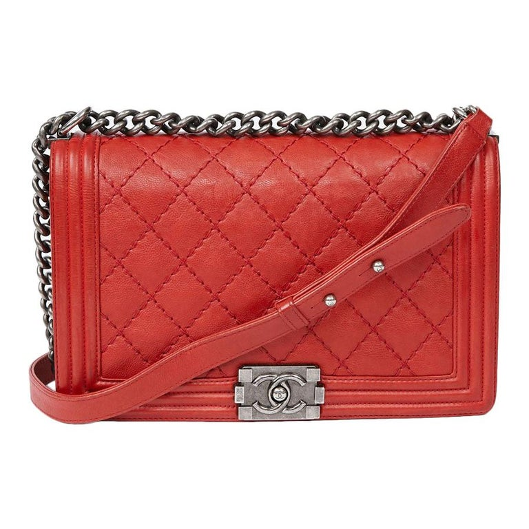 CHANEL Red Leather Large Boy Bag  For Sale