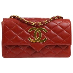 Chanel Red Leather Logo Gold Evening Small Single Shoulder Flap Bag