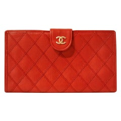 Chanel Red Leather Vintage Long Wallet