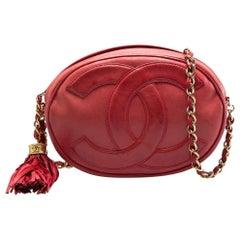 Chanel Red Leather Mini Oval CC Tassel Crossbody Bag