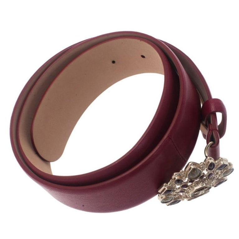Brown Chanel Red Leather Resin Buckle Belt 85CM For Sale