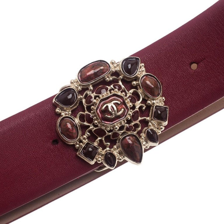 Chanel Red Leather Resin Buckle Belt 85CM In New Condition For Sale In Dubai, AE