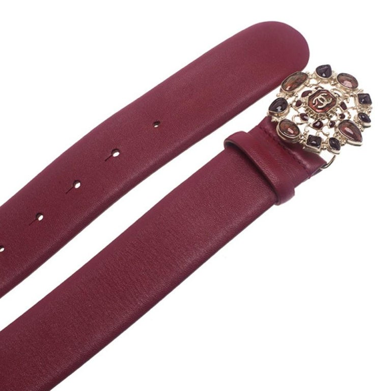 Women's Chanel Red Leather Resin Buckle Belt 85CM For Sale