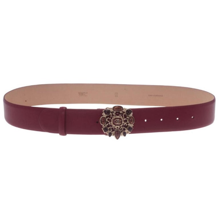 Chanel Red Leather Resin Buckle Belt 85CM For Sale