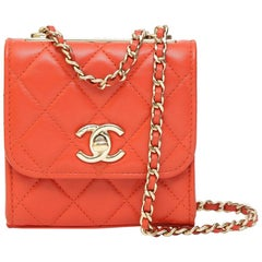 Chanel red leather shoulder bag