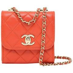 Chanel red leather shoulder bag