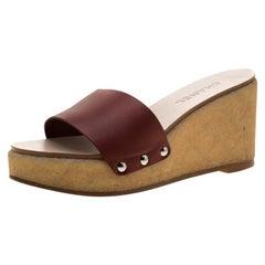 Chanel Red Leather Wedge Platform Slides Size 41