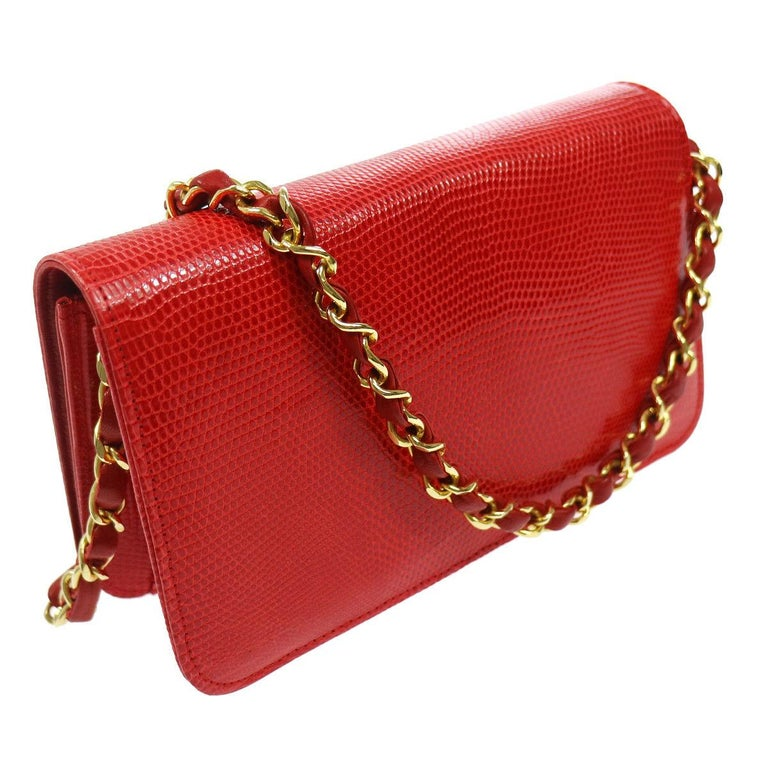 Chanel Red Lizard Exotic Leather Gold Small Shoulder Flap Bag in Box  In Good Condition For Sale In Chicago, IL