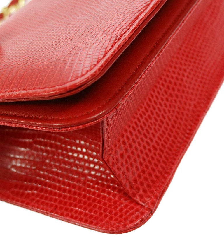 Women's Chanel Red Lizard Exotic Leather Gold Small Shoulder Flap Bag in Box  For Sale