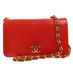Chanel Red Lizard Exotic Leather Gold Small Shoulder Flap Bag in Box
