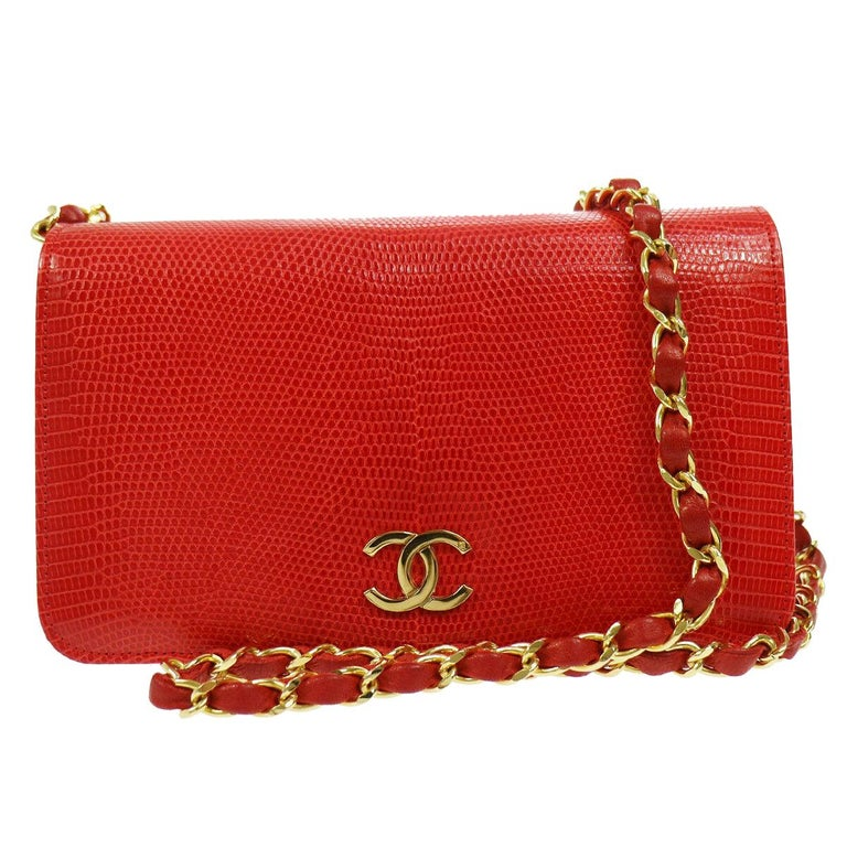 Chanel Red Lizard Exotic Leather Gold Small Shoulder Flap Bag in Box  For Sale