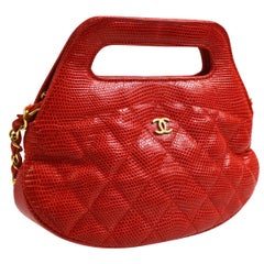 Chanel Red Lizard Exotic Small Mini 2 in 1 Top Handle Satchel Shoulder Bag W/Box