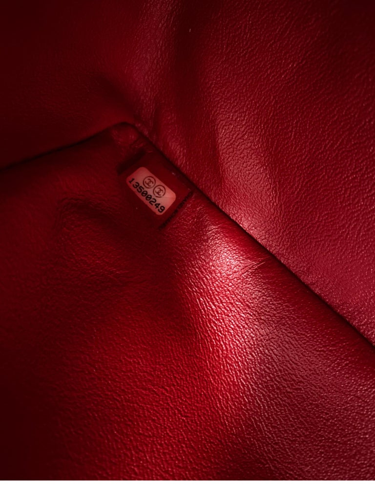 Chanel Red Maxi Chevron Patent Leather Bag For Sale 6