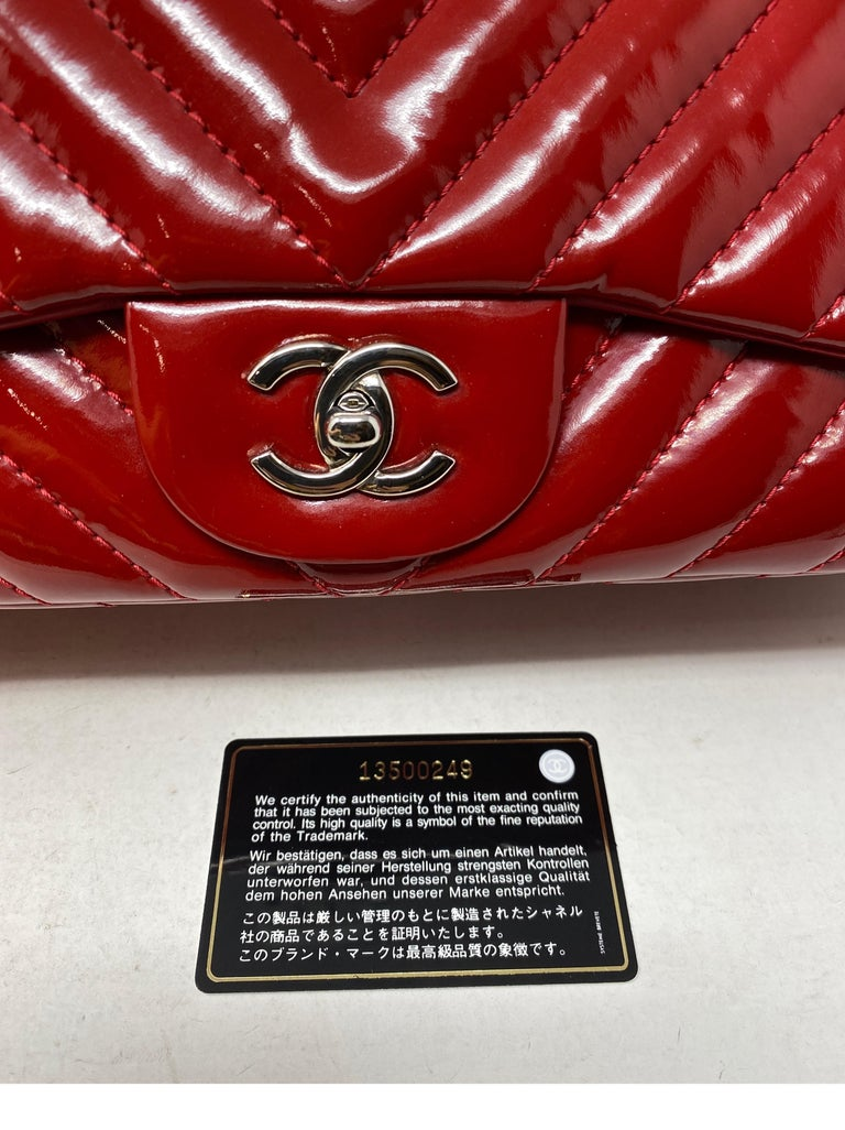 Chanel Red Maxi Chevron Patent Leather Bag For Sale 9