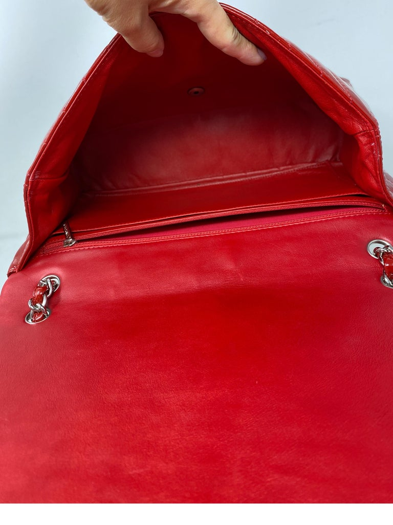 Chanel Red Maxi Chevron Patent Leather Bag For Sale 5