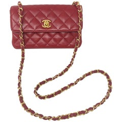 Chanel Red Mini Lambskin Crossbody Bag