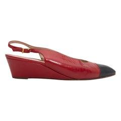 Chanel Red & Navy Cap-Toe Slingbacks