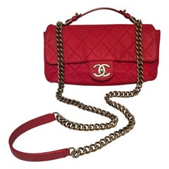 Chanel Red Nubuck Leather Top Handle Coco Classic Flap Shoulder Bag