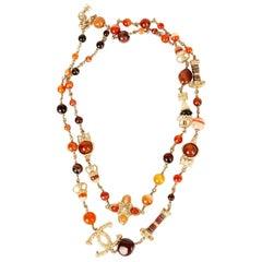 CHANEL red orange BEADED PARIS-GREECE RUNWAY Necklace