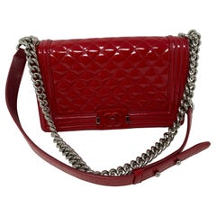 Chanel Red Patent Leather Boy Bag