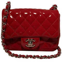 Chanel Red Patent Leather Mini Classic Flap