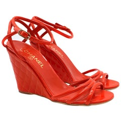 Chanel Red Patent Leather Quilted Wedge Sandals SIZE 40