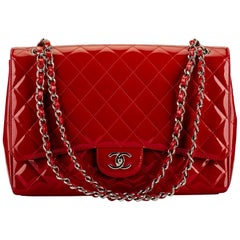 Chanel Red Patent Maxi Flap Bag Mint Condition