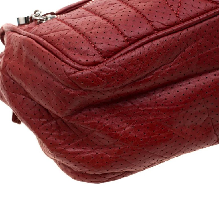 Chanel Red Perforated Leather Camera Bag For Sale 5