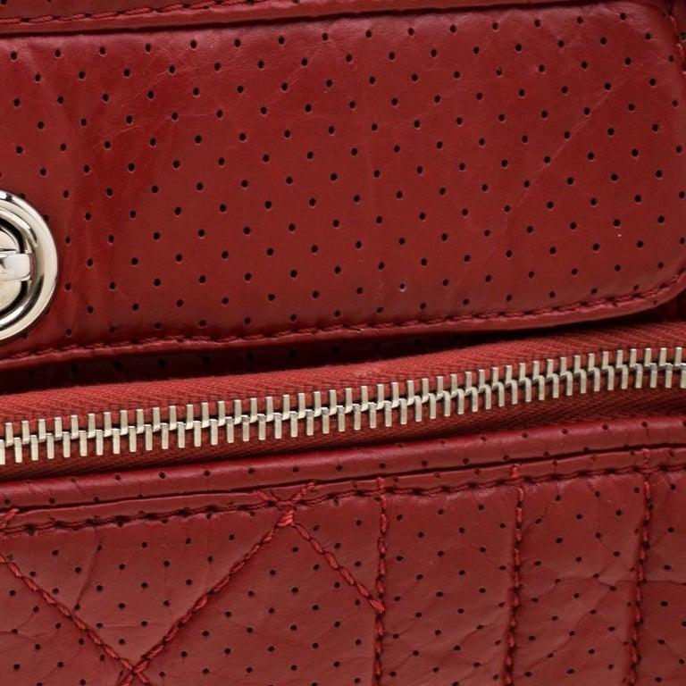 Chanel Red Perforated Leather Camera Bag For Sale 6