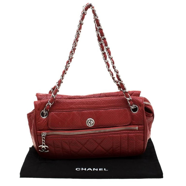 Chanel Red Perforated Leather Camera Bag For Sale 7