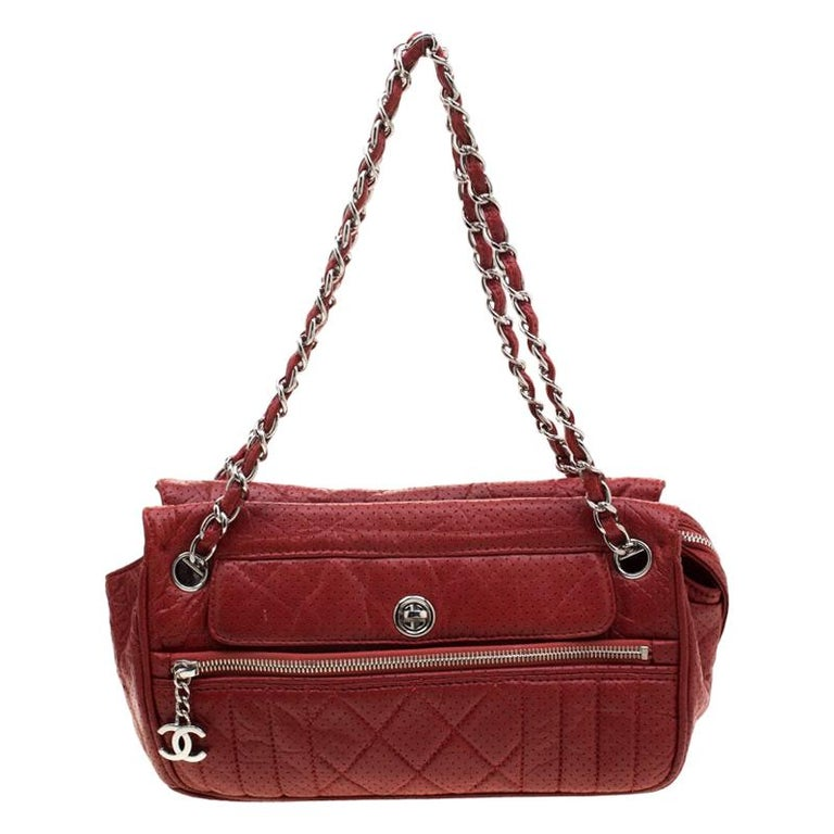 Chanel Red Perforated Leather Camera Bag For Sale