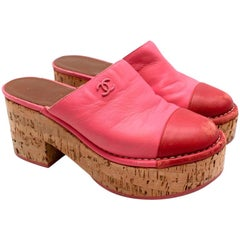 Chanel Red & Pink Labskin Leather CC Platform Mules - Size EU 37