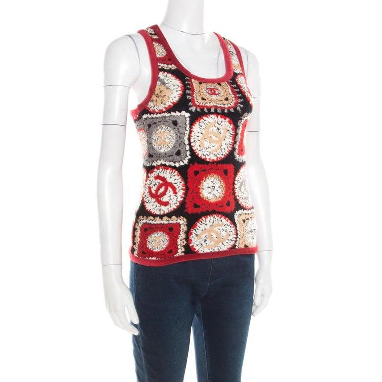 Chanel Red Printed Velvet Racerback Top S In Good Condition For Sale In Dubai, Al Qouz 2
