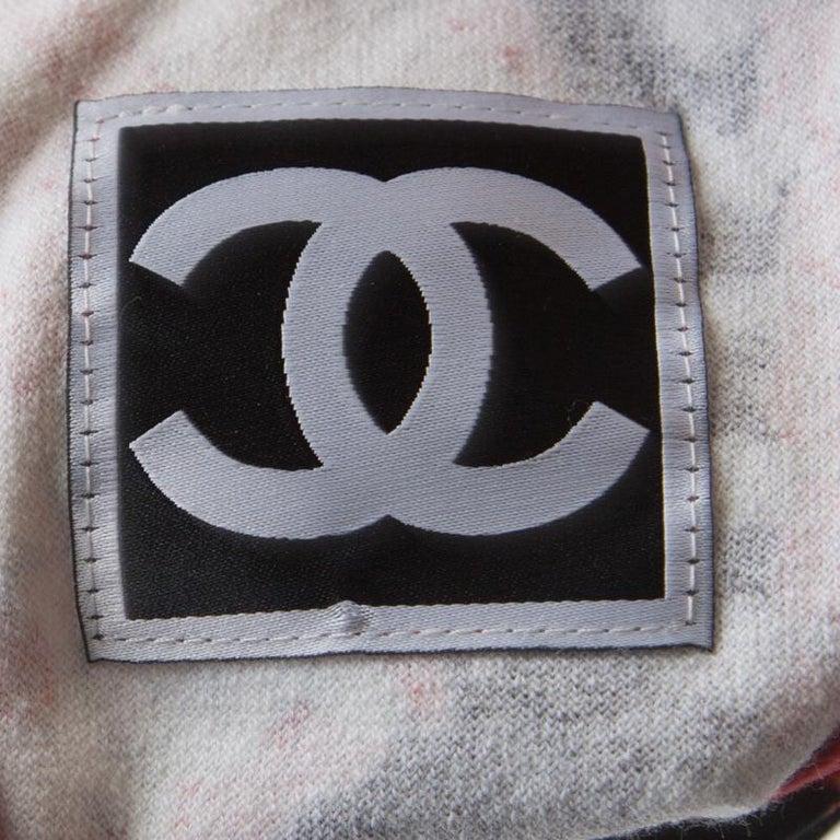 Chanel Red Printed Velvet Racerback Top S For Sale 1