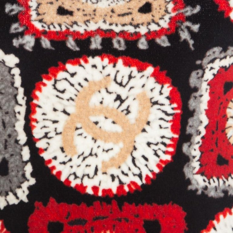 Chanel Red Printed Velvet Racerback Top S For Sale 2