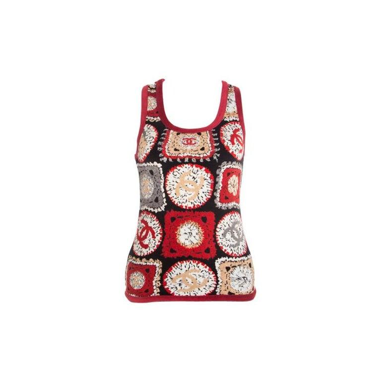 Chanel Red Printed Velvet Racerback Top S For Sale