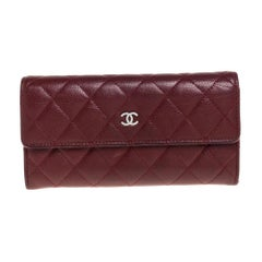 Chanel Red Quilted Caviar Leather CC Flap Wallet