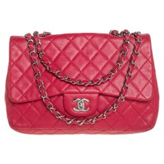 Chanel Red Quilted Caviar Leather Classic Single Flap Bag