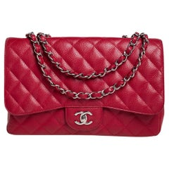Chanel Red Quilted Caviar Leather Jumbo Classic Single Flap Bag