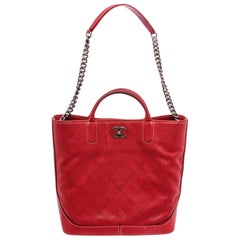 Chanel Red Quilted Caviar Leather Two-Way Chain Tote Shoulder Bag