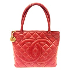 Chanel Red Quilted Caviar Tote Bag
